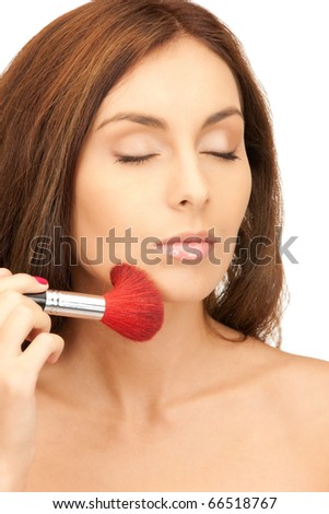 picture of lovely woman with brush over white