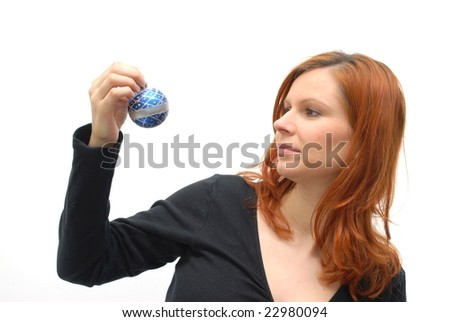 picture of lovely woman with christmas ball
