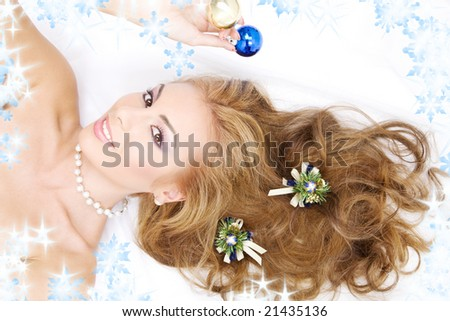 picture of lovely woman with christmas decorations - stock photo