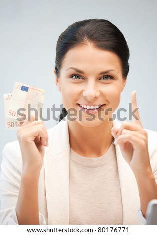 picture of lovely woman with euro cash money - stock photo