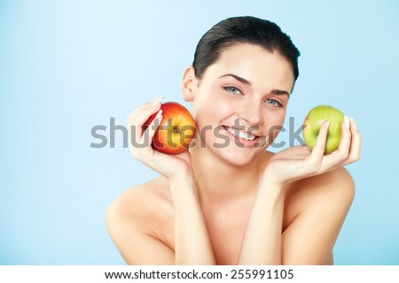 picture of lovely woman with fruit - stock photo