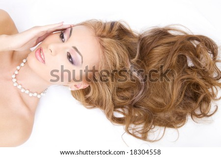 picture of lovely woman with long healthy hair - stock photo
