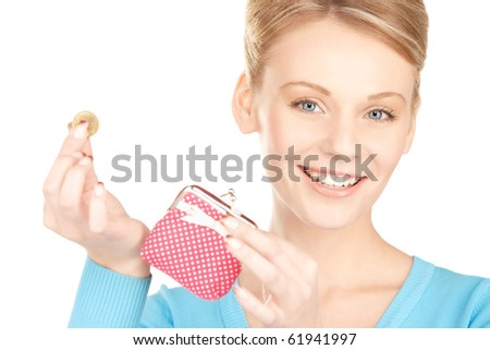 picture of lovely woman with purse and money - stock photo