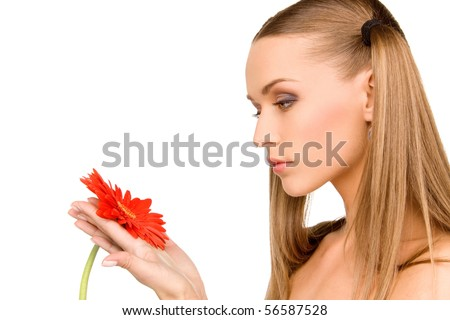 picture of lovely woman with red flower