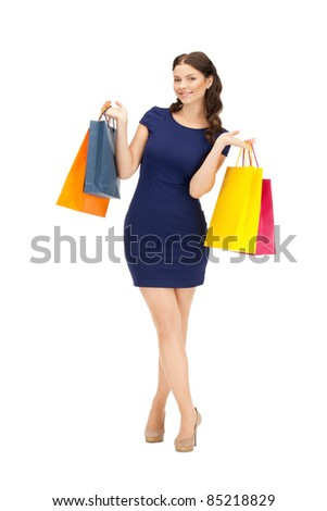 picture of lovely woman with shopping bags