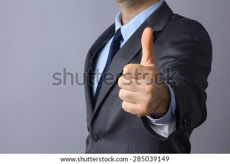 Picture of man hands showing ok sign . - stock photo