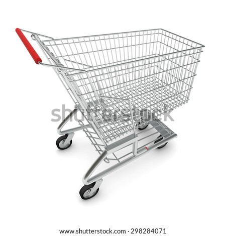 Picture of metal shopping cart for purchase with red handle on isolated white background