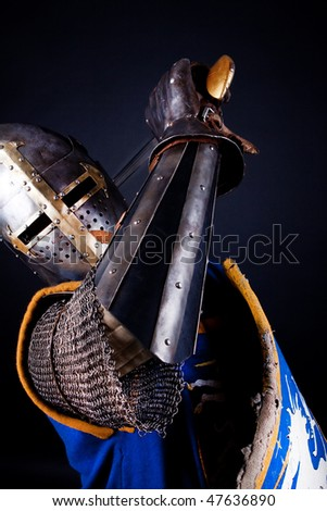 Picture of mighty  knight during fight - stock photo