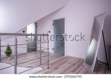 Picture of mirror in the empty hall - stock photo