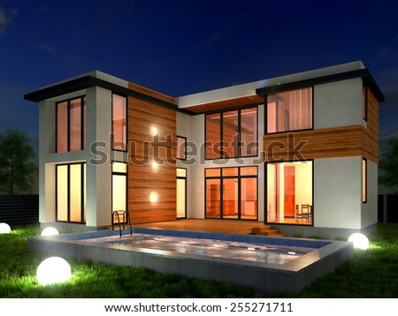 Picture of modern architecture, modern house, design building, night scene, 3D rendering