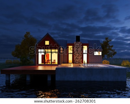 Picture of modern architecture, modern house in the night on the lake, 3D rendering