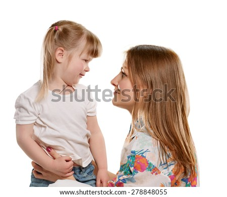 picture of mother and daughter talking with each other, on white background