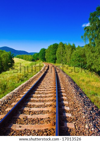 Picture of nature with empty railway - stock photo