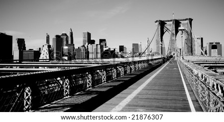picture of New York from the Brooklyn Bridge - stock photo
