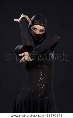 picture of ninja woman in the dark - stock photo