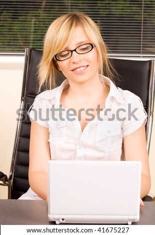 picture of office girl with laptop computer