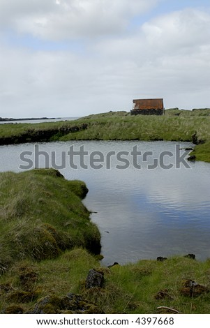 Picture of old fisherman house in Iceland nature.