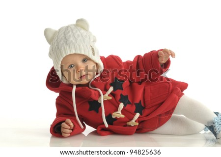 Picture of one little girl in red coat