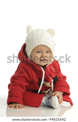 Picture of one little girl in red coat - stock photo