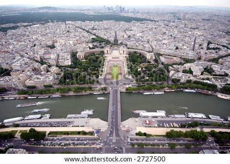 Picture of Paris France taken from the Eiffel Tower - stock photo