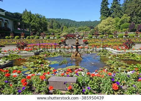picture of part of the Italian garden, at Butchart gardens,Victoria,BC,Canada.