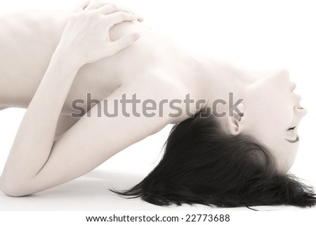 picture of passionate naked woman over white - stock photo