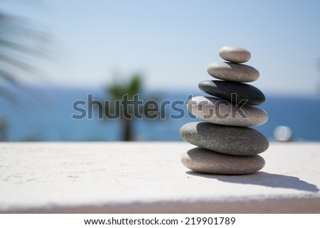 Picture of pebbles in a sea view