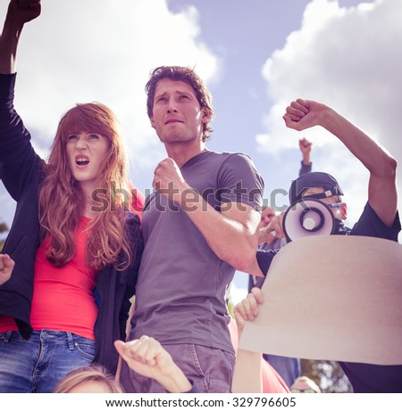 Picture of people on manifestation fighting for human rights - stock photo