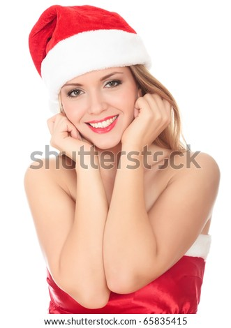 Picture of pretty christmas woman in red dress and santa hat, smiling isolated on white background