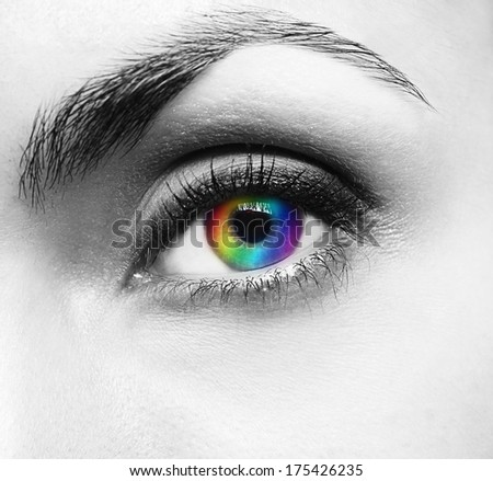 Picture of pretty woman's eye - stock photo