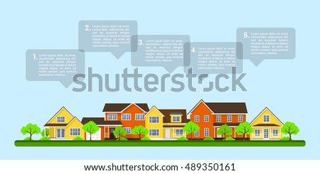 picture of private houses with speech bubbles, real estate infographic template