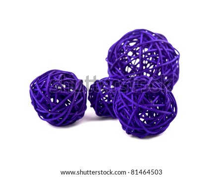 Picture of purple rattan balls on white background - stock photo
