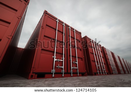 Picture of red containers in the row. - stock photo