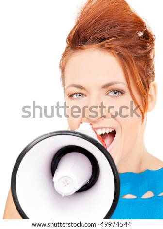 picture of redhead woman with megaphone over white - stock photo