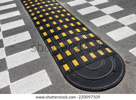 Picture of  road speed bump - stock photo