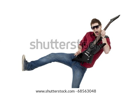 Picture of rock star playing the guitar, isolated - stock photo