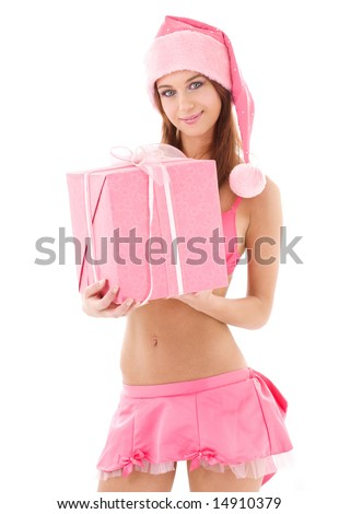 picture of santa helper girl in pink with gift box - stock photo