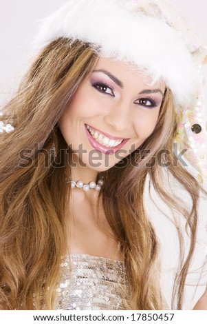 picture of santa helper girl over grey - stock photo