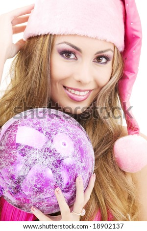 picture of santa helper girl with ball - stock photo