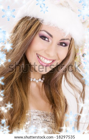 picture of santa helper girl with snowflakes - stock photo