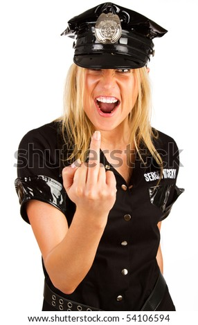 Picture of screaming bad policewoman - stock photo
