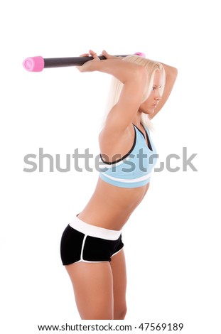 Picture of sexy athlete during her training. Studio shot - stock photo