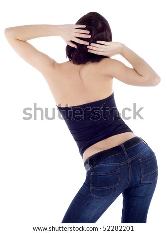 picture of sexy backside brunette over white background - stock photo
