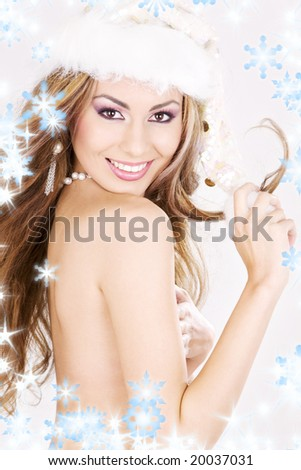 picture of sexy santa helper with snowflakes - stock photo