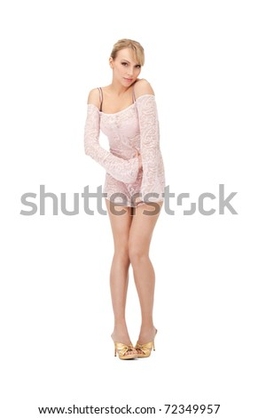 picture of sexy woman in transparent dress - stock photo