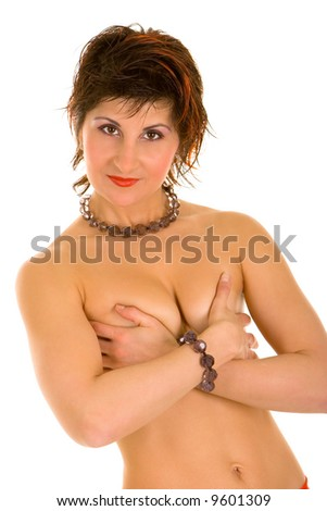 picture of sexy woman over white background - stock photo
