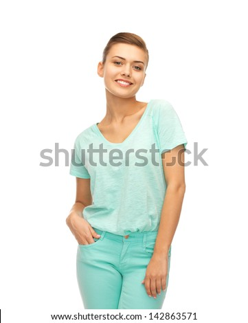 picture of smiling girl in color t-shirt - stock photo