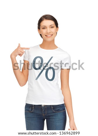 picture of smiling woman in shirt with percent sign - stock photo