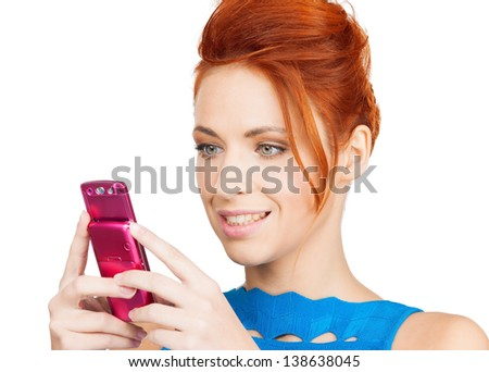 picture of smiling woman with cell phone - stock photo