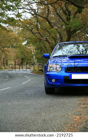 Picture of Sports Car - Subaru Impreza on the Road - Concept of GT Vehicle - stock photo